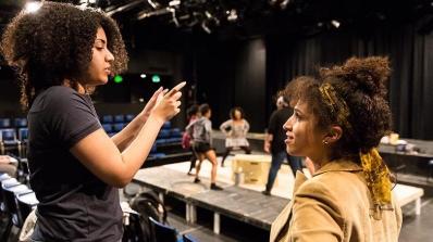 Carene Mekertichyan '16, left, and director Deena Selenow