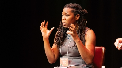 Associate Professor of Theater Monica Ndounou speaks at the 2018 International Black Theater Summit at Dartmouth.
